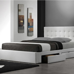 None - Belmont White King-size Storage Bed - Finish: White Upholstery materials: Bonded leather Upholstery color: White