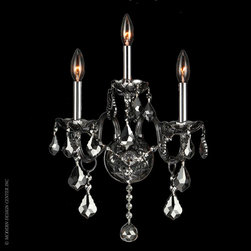 Worldwide Lighting Provence Wall Sconce W23103C13-SM - Worldwide Lighting Provence Collection 3 light Chrome Finish and Smoke Crystal Candle Wall Sconce Light