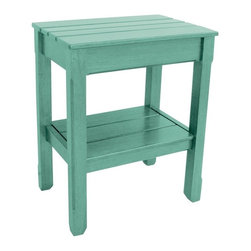 EuroLux Home - New Side Table Light Blue Painted Hardwood Planked - Product Details