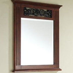 "Avanity - Napa Mirror - 24"" Dark Cherry - 24W x 31.5H inches; Birch solid wood in Dark Cherry finish; Cast iron inlays; Beveled mirror; Wood cleat at back for easy hanging"