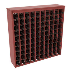 Wine Racks America - 100 Bottle Deluxe Wine Rack in Ponderosa Pine, Cherry Stain + Satin Finish - This wooden wine rack functions well as either a freestanding wine rack furniture or as part of a complete wine cellar design. Solid top and side enclosures promote the cool and dark storage area necessary for aging your wine properly. Your satisfaction and our racks are guaranteed.