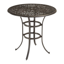 Home Styles - Home Styles Floral Blossom Bistro Table in Charcoal - Home Styles - Patio Bistro Tables - 555835 - By combining outdoor elements such as ceremonial and abstract floral designs the Floral Blossom Bistro Table by Home Style is brought to life.
