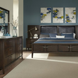 Liberty Furniture - Liberty Furniture Arterra Storage Bed & Dresser & Mirror & Chest in Java Finish - Arterra brings together contemporary design with crisp clean lines and unique textures.  Vacuum formed drawer fronts allow for a concave center in the drawer fronts that is accented by satin nickel bar pull hardware.  A java finish adds to the contemporary flair of the group.Collection Features: Full Extension Metal Side Drawer GlidesFrench & English Dovetail ConstructionBottom Case Dust ProofingFully Stained Interior DrawersFelt Lined Top DrawersStraight Line CasesRaised Tapered FeetVacuum Formed Drawer FrontsConcave Center SectionsPVC Uphostered HeadboardNight Stand Creates Low Profile Wall BedSatin Nickel Bar Pull HardwareBeveled  Mirrored Glass