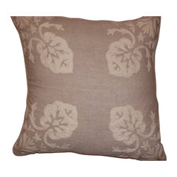 Crewel Fabric World - Crewel Pillow Konark Squared White on Natural Brown Linen 18x18 Inches - Artisans in a remote mountain village in Kashmir crewel stitch these blossoms, vines and leaves by hand, resulting in a lush pattern of richly shaded wool yarns on Linen, Cotton, Velvet, Silk Organza, Jute. Also backed in natural linen, Cotton, Velvet Silk Organza, Jute with a hidden zipper.