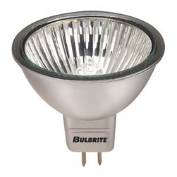 Bulbrite - Halogen Light Bulbs in Silver - 10 Bulbs (20w - Choose Wattage: 20wOne pack of 10 Bulbs. 12 V GU5 3 base MR16 bulb type. Fully dimmable. 38 degree flood beam spread. Aluminized coating prevents back spill, matches track and recessed fixtures. Lensed for full UV protection. Perfect for track, recessed cans, downlights and landscape lighting. Average hours: 3000. Color rendering index: 100. Color temperature: 3000 K. 20 watt:. Lumens: 750 CP. Center beam candle power: 750. 35 watt:. Lumens: 1320 CP. Center beam candle power: 1320. 50 watt:. Lumens: 4670 CP. Center beam candle power: 4670. Maximum overall length: 1.88 in.