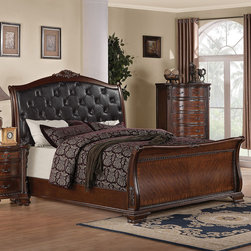 Coaster - Maddison Eastern King Bed - Traditional elegance is brought to a whole new level with this traditional bed. From scroll posts to a curved headboard with ornate wood carved details this piece exudes a luxurious sense. A faux leather tufted headboard makes it easy to sit up and read a book or watch some television. The french front dovetail and square back drawers create a solid unit for storage and every day use. From the warm brown cherry finish to the intricate details, this bed is sure to become a standout item in your bedroom.