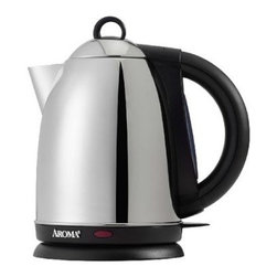 Aroma AWK-125S Hot H20 X-Press 7-Cup Electric Water Kettle - Piping hot water will always be at the ready with your Aroma AWK-125S Hot H20 X-Press 7-Cup Electric Water Kettle. It switches off automatically when the water comes to a boil so there's no boil over. This electric water kettle holds up to 1.7 liters. It features an easy filling system with convenient, trigger-release lid. Smart and stylish, this electric kettle has a stainless steel body and black accents.About T-fal:Where would we be without the nonstick frying pan? In the dark ages of cookware, but thanks to T-fal's ingenious invention in the 1950s, we're well-equipped and up to speed. Headquartered in West Orange, NJ, T-fal has continued to introduce an impressive range of cookware collections featuring nonstick coatings and made for use with metal utensils. Known for the quality engineering and distinct designs of their products, T-fal's expansive product line includes toasters, indoor grills, electric kettles, blenders, rice cookers, and more. Quick to meet the needs of customers, T-fal prides itself on consumer loyalty and satisfaction.