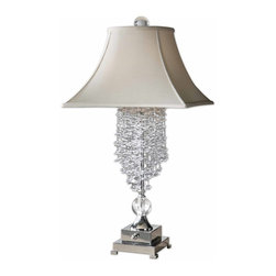 Carolyn Kinder - Carolyn Kinder Fascination II Transitional Table Lamp X-49862 - Silver plated metal accented with cascading crystals and matching ornaments. The square bell with round top shade is a silkened champagne textile.