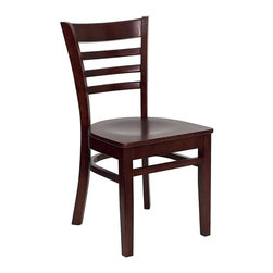 Flash Furniture - Hercules Chair w Curved Support Bars - Set of - Set of 2. Ladder style back. 0.75 in. thick plywood seat. Curved support bars. Plastic floor glides. Warranty: 2 year limited. Mortise and Tenon style construction. Metal wood screw reinforcements. Made from solid European beech hardwood. Wood seat mahogany finish. Wooden frame in mahogany finish. Minimal assembly required. Back: 14.5 in. W x 16 in. H. Seat: 16.75 in. W x 16.75 in. D. Seat Height: 17.75 in.. Overall: 20 in. W x 17.25 in. D x 33.75 in. H (24 lbs.)