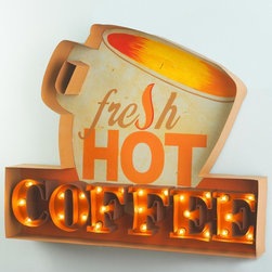 Lighted Hot Coffee Sign -