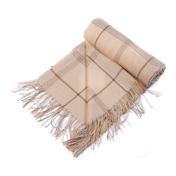 """Kuna - Janet Throw, Light Brown - Pin stripes of varied width provide contrast to the light colored base. A beautiful accent piece for your home furnishings. 63"""" long x 51"""" wide and 12 ounces."""