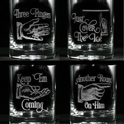 Crystal Imagery - Whiskey, Scotch, Bourbon Glass Set, Three Fingers - Three Fingers Glass Set, Engraved Humorous Scotch, Whiskey Glasses