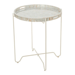 KOUBOO - Tray Table in Kabibe Seashell - Diameter 22 inches x 25 inches high.