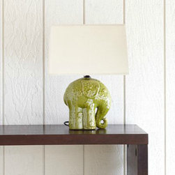 Elephant Ceramic Table Lamp - Animals in decor are still going strong. This sweet elephant lamp reminds me of something Emily Henderson might use in her show Secrets from a Stylist.