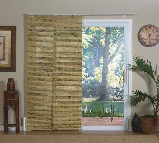 None - Natural Bamboo Panel Track Sliding Window Shade - Versatile shade panels glide along an aluminum track,making them the ideal solution for sliding doors,extra-large windows,picture windows,or as an inexpensive room divider. The track insures the panels stay in place without damage.