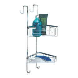 Gedy - Over-the-Door Corner Double Shower Basket - Contemporary style suspensible corner wire double tier shower basket.