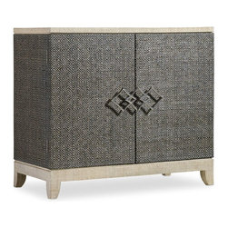 """Hooker Furniture - Hooker Furniture Melange Ziva Console - Come closer to Melange, and you will discover something unexpected, an eclectic blending of colors, textures and materials in a vibrant collection of one-of-a-kind artistic pieces. Hardwood Solids with Raffia. Dimensions: 36""""W x 16""""D x 32""""H."""