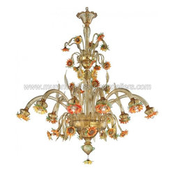 """""""Girasole"""" 10 lights sunflowers Murano glass chandelier - A fantastic chandelier of Murano glass, which surprises with its simple beauty. Sunflowers entirely shaped by hand, in this wonderful piece of lighting."""