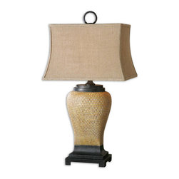 Uttermost - Uttermost Melitta Lamp w/ Coarse Weave Burlap Fabric Shade - Lamp w/ Coarse Weave Burlap Fabric Shade belongs to Melitta Collection by Uttermost Pitted ceramic base finished in caramel undertones with a light gray wash, pale yellow highlights and aged black accents. The rectangle bell shade is a coarse weave burlap fabric. Lamp (1)
