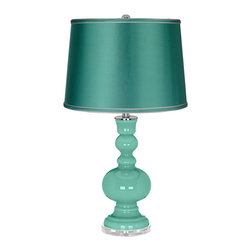 "Color Plus - Contemporary Larchmere - Satin Sea Green Shade Apothecary Table Lamp - Infuse your decor with brilliant color and style with a beautiful apothecary style Color + Plus™ glass table lamp. This designer Larchmere green lamp is hand-crafted by experienced artisans in our California workshops. It stands on a lucite base and is topped with a sea green satin drum shade. Larchmere glass table lamp. Sea green satin drum shade. Lucite base. Maximum 150 watt or equivalent bulb (not included). On/off switch. 30"" high.  Larchmere glass table lamp.  Sea green satin drum shade.  Lucite base.  Maximum 150 watt or equivalent bulb (not included).  On/off switch.  30"" high.  Shade is 14"" across the top 16"" across the bottom 11"" high."