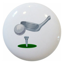 Carolina Hardware and Decor, LLC - Golf Club Ball Tee Ceramic Cabinet Drawer Knob - New 1 1/2 inch ceramic cabinet, drawer, or furniture knob with mounting hardware included. Also works great in a bathroom or on bi-fold closet doors (may require longer screws).  Item can be wiped clean with a soft damp cloth.  Great addition and nice finishing touch to any room.
