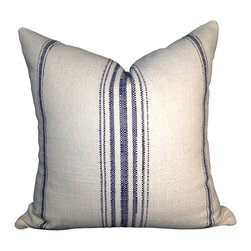 PillowFever - Cotton Off White Pillow Cover with Navy blue stripes. - Pillow insert is not included!