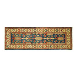 Manhattan Rugs - New HQ Wool Geometric Super Kazak 2x7 Blue Veg Dyed HandKnotted Floral Rug H5871 - Kazak (Kazakh, Kasak, Gazakh, Qazax). The most used spelling today is Qazax but rug people use Kazak so I generally do as well.The areas known as Kazakstan, Chechenya and Shirvan respectively are situated north of  Iran and Afghanistan and to the east of the Caspian sea and are all new Soviet republics.   These rugs are woven by settled Armenians as well as nomadic Kurds, Georgians, Azerbaijanis and Lurs.  Many of the people of Turkoman origin fled to Pakistan when the Russians invaded Afghanistan and most of the rugs are woven close to Peshawar on the Afghan-Pakistan border.There are many design influences and consequently a large variety of motifs of various medallions, diamonds, latch-hooked zig-zags and other geometric shapes.  However, it is the wonderful colours used with rich reds, blues, yellows and greens which make them stand out from other rugs.  The ability of the Caucasian weaver to use dramatic colours and patterns is unequalled in the rug weaving world.  Very hard-wearing rugs as well as being very collectable