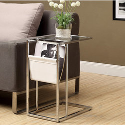 None - White and Chrome Metal Accent Table and Magazine Holder - This modern end table will lend a unique design to your living space. With tempered glass and a sleek design,this accent table features a magazine holder for easy storage.