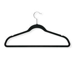 """Honey Can Do - Black Thin Non-Slip Velvet Hangers 50 Pack - Honey-Can-Do HNG-01884 50-Pack Velvet Touch Suit Hanger, Black. Beautiful, soft, and durable this clothes hanger is contoured to keep shirts, dresses, jackets, and pants perfectly wrinkle-free. Features a 360 degree chrome, swivel rod hook to hang items easily on any closet rod, towel bar, or standard size door. Durable metal construction provides strength, reliability, and long-lasting beauty. Soft velvet coating is gentle on delicate garments and provides a non-slip surface that holds fabrics beautifully in place. Slim, space-saving design makes the most use of available hanging space with its 1/4"""" profile."""