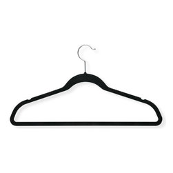 "Honey Can Do - Black Thin Non-Slip Velvet Hangers 50 Pack - Honey-Can-Do HNG-01884 50-Pack Velvet Touch Suit Hanger, Black. Beautiful, soft, and durable this clothes hanger is contoured to keep shirts, dresses, jackets, and pants perfectly wrinkle-free. Features a 360 degree chrome, swivel rod hook to hang items easily on any closet rod, towel bar, or standard size door. Durable metal construction provides strength, reliability, and long-lasting beauty. Soft velvet coating is gentle on delicate garments and provides a non-slip surface that holds fabrics beautifully in place. Slim, space-saving design makes the most use of available hanging space with its 1/4"" profile."