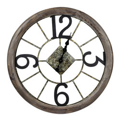 Cooper Classics - Cooper Classics Caravita 25 Inch Round Clock in Medium Wood - The Caravita Clock will make a lovely addition to any room. This beautiful natural wood finished wall clock will add style to any decor.