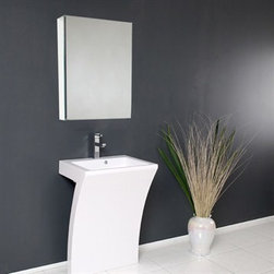 Fresca - Fresca Quadro White Pedestal Sink with Medicine Cabinet - This all white vanity has the shape of the number 7 when viewed from the side. The Quadro is super stylish and very minimal, it will add a great effect to your bathroom. The included medicine cabinet features mirrors on the inside and can also be wall mounted, or recessed into the wall. Many faucet styles to choose from. Features Solid Acrylic Sink with Overflow Single Hole Faucet Mount (Faucet Shown In Picture May No Longer Be Available So Please Check Compatible Faucet List) P-trap, Faucet/Pop-Up Drain and Installation Hardware Included How to handle your counter Installation GuideView Spec Sheet