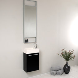 Fresca - Fresca Pulito Small Black Modern Bathroom Vanity w/ Tall Mirror - Sleek, compact and contemporary, the Fresca Pulito Modern Bathroom Vanity, model FVN8002BW, adds a lot of style to small powder rooms. The floating design saves valuable floor space.This wall-mounted small bathroom vanity features a horizontal integrated sink with a solid brass, chrome-finished single-hole faucet. The vanity's wide cupboard offers linen storage, and the tall mirror has a small shelf for holding personal items.