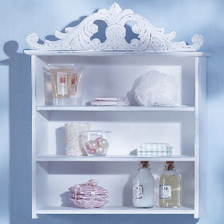Distressed White Wood Shelf - Small shelves are so convenient for so many locations.  Hang this shelf in a bathroom to hold bath toiletries or place it in a laundry room to hold laundry items.