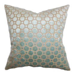 "The Pillow Collection - Kostya Geometric Pillow, Blue - Give your bed or couch a new look with this stylish accent pillow. This square pillow is adorned with a geometric pattern set against a blue-hued background. The throw pillow gives off a sheen which makes it an interesting statement piece. Toss this 18"" pillow anywhere inside your home and pair it with other decor pillows. Made of plush and high-quality velvet material. Hidden zipper closure for easy cover removal.  Knife edge finish on all four sides.  Reversible pillow with the same fabric on the back side.  Spot cleaning suggested."