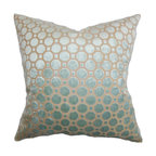 """The Pillow Collection - Kostya Geometric Pillow Blue 18"""" x 18"""" - Give your bed or couch a new look with this stylish accent pillow. This square pillow is adorned with a geometric pattern set against a blue-hued background. The throw pillow gives off a sheen which makes it an interesting statement piece. Toss this 18"""" pillow anywhere inside your home and pair it with other decor pillows. Made of plush and high-quality velvet material. Hidden zipper closure for easy cover removal.  Knife edge finish on all four sides.  Reversible pillow with the same fabric on the back side.  Spot cleaning suggested."""