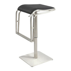 "Chintaly Imports - Black Backless Pneumatic Gas Lift Adjustable Height Swivel Stool - Unique backless pneumatic gas lift adjustable height stool. Upholstered in your choice of Black or White Polyurethane. Finished in Brushed Stainless Steel, with a square base. Height adjusts from 22""-31�."