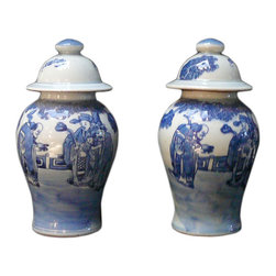 Golden Lotus - 2 Chinese Porcelain Blue & White Small Jars - These are traditional Chinese porcelain containers with blue & white graphic on the surface. They are hand made items, the result and the details has variation. Not exactly same finish. ( we will send the available, but the theme will be the same ).