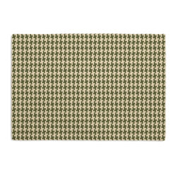 Green Handwoven Houndstooth Custom Placemat Set - Is your table looking sad and lonely? Give it a boost with at set of Simple Placemats. Customizable in hundreds of fabrics, you're sure to find the perfect set for daily dining or that fancy shindig. We love it in this green & cream woven cotton houndstooth that will cozy up the classic home.