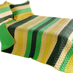 Blancho Bedding - [Green World] Cotton 3PC Vermicelli-Quilted Striped Quilt Set (Full/Queen Size) - The [Green World] Quilt Set (Full/Queen Size) includes a quilt and two quilted shams. This pretty quilt set is handmade and some quilting may be slightly curved. The pretty handmade quilt set make a stunning and warm gift for you and a loved one! For convenience, all bedding components are machine washable on cold in the gentle cycle and can be dried on low heat and will last for years. Intricate vermicelli quilting provides a rich surface texture. This vermicelli-quilted quilt set will refresh your bedroom decor instantly, create a cozy and inviting atmosphere and is sure to transform the look of your bedroom or guest room. (Dimensions: Full/Queen quilt: 90.5 inches x 90.5 inches Standard sham: 24 inches x 33.8 inches)