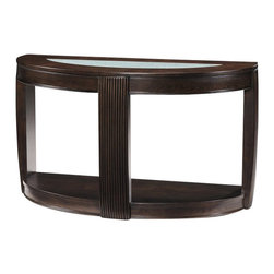 Magnussen - Magnussen Ino Wood and Glass Demilune Sofa Table - Magnussen - Console Tables - T173875 - About This Product: