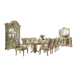 Homey Design - Homey Design Formal Beige Dining Room Set With Upholstered Chairs - Fall in love in an instant with the HD-5800 formal dining room set from Homey Design.  This beige dining room set has everything you are looking for in luxury and elegance.  The dining room base features round columns with decorative design on the bottom and legs while the table base has a smooth but luxurious feel.  The side and arm chairs features upholstery on front and back and finish with elegant wood trim design.  The cushion seating also provides perfect comfort for those long dining gatherings and will also serve as a topic for you and your guests.  The buffet has glass doors with detail design for a grand look and the matching mirror complements it to perfection.  The  china is not short of spectacular.  The glass doors and sides allows you to see the beauty inside while the detail carved design enriches this set to perfection.  As if that was not enough there is also a featured royal clock so you never loose track of time while entertaining your guest.