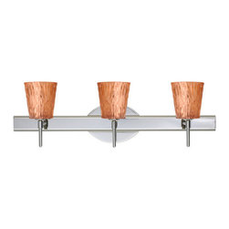 Besa Lighting - Besa Lighting 3SW-5125CF Nico 3 Light Reversible Halogen Bathroom Vanity Light - Nico 4 features a tapered drum shape that fits beautifully in transitional spaces. Our Stone Copper Foil glass is a clear blown glass with an outer texture of coarse sandstone, with distressed metal foil hand applied to the inside. Inspired by the elements of nature, the appearance of the surface resembles the beautiful cut patterning of a rock formation. This blown glass is handcrafted by a skilled artisan, utilizing century-old techniques passed down from generation to generation. Each piece of this decor has its own artistic nature that can be individually appreciated. The vanity fixture is equipped with decorative lamp holders, removable finials, linear rectangular housing, and a removable low profile oval canopy cover.Features: