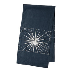 Cricket Radio - Montauk Compass Rose Runner, Navy/White - Time to turn the tables in a new direction. This beautiful 15-by-60-inch runner is handmade of Italian linen and features a compass pattern printed in ecofriendly inks. In your choice of colors, it makes a soft, stylish landing spot for your place settings, flowers or anything else that's lost its way.
