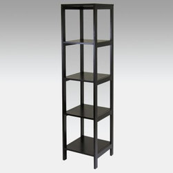 Winsome Hailey Wood Bookcase Etagere - Espresso - Tall and slender the Winsome Hailey Tower Wood Bookcase - Espresso dresses up any lonely corner. You can use it with other pieces in the Hailey collection or as a standalone bookcase. Made of wood solids and wood composites it's finished in a dark espresso that gives any modern decor a stylish energy buzz. The five shelves give you ample space to store books or display memorabilia.About Winsome TradingWinsome Trading has been a manufacturer and distributor of quality products for the home for over 30 years. Specializing in furniture crafted of solid wood Winsome also crafts unique furniture using wrought iron aluminum steel marble and glass. Winsome's home office is located in Woodinville Washington. The company has its own product design and development team offering continuous innovation.