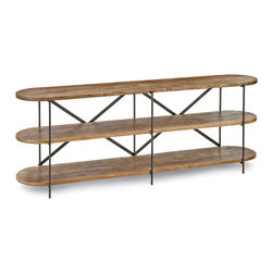 Kathy Kuo Home - Donovan Rustic Lodge Mango Wood 3 Tier Console Table - Combining Rustic Lodge with Industrial Loft, this reclaimed wood, three-tiered console table is a naturally elegant display area. Behind a sofa or under a staircase, three long distressed wood shelves with rounded corners offer ample showcase space for photos, collectibles and other favorites.