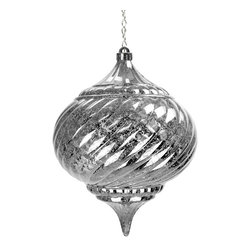 """Exhart - Solar Silver Large Onion Hanging Ornament - Large Solar Hanging onion. Hangs 32"""" tall. Is a great piece to decorate any yard or garden. Made in China"""