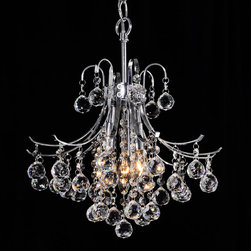None - Namika 3-Light Crystal and Chrome Chandelier - This 3-light chandelier, made by Namika, will add a luxurious accent to any room. The elegant chrome arms and clear crystals will add sparkle to your dining table. With over three feet of chain, you can adjust the height to suit even tall ceilings.