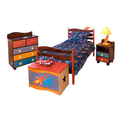 Star Rocket Twin Bed, Chocolate - Planets and Stars float above the headboard waves of this quality twin bed, made of solid hardwood finished with chocolate and brightly colored stains. Includes headboard, footboard, rails, mattress slats, 4 sturdy casters, and finials.