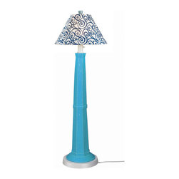 Patio Living Concepts - Patio Living Concepts Nantucket 60 Inch Floor Lamp w/ Curacao Blue Base & Denim - 60 Inch Floor Lamp w/ Curacao Blue Base & Denim Swirl Shade belongs to Nantucket Collection by Patio Living Concepts Distressed Curacao blue resin lamp base highlights this stylish outdoor lamp. Two level dimming switch and 12' weatherproof cord and plug. Unbreakable polycarbonate waterproof bulb enclosure allows the use of a standard 100 watt light bulb. Lamp (1)